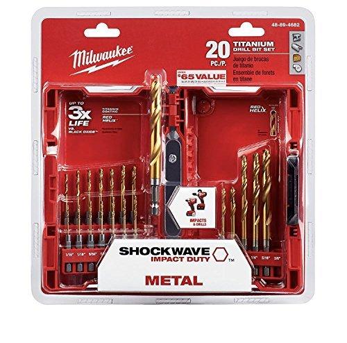 Milwaukee Shockwave Titanium Red Helix Drill Bit Set 20-Piece