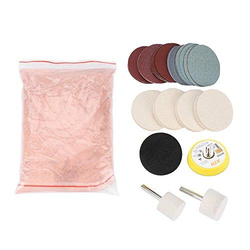 Glass Polishing Kit Cerium Oxide Polishing Powder Felt Polishing Wheel Set for Windscreen and Glass
