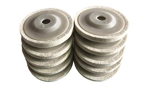 GooM 10pcs 4 100mm Wool Polishing Buffing Wheel Pad Bore Round Polishing Wheel Felt Buffer Disc Tool