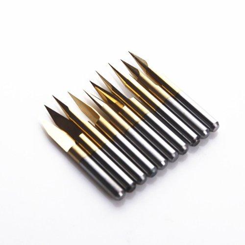 Autek 10x Titanium Coated Carbide PCB Engraving CNC Bit Router Tool 30 Degree 01mm TipJ33001Tix10