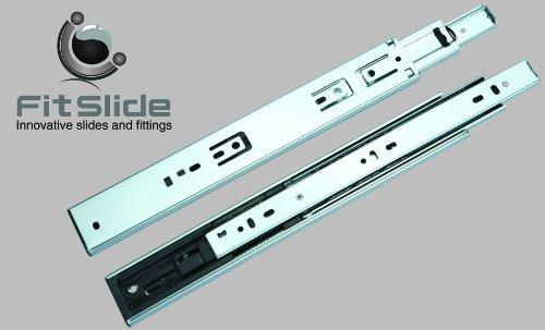 FitSlide 4502 Soft Close Full Extension Ball Bearing Drawer Slides 12 Zinc