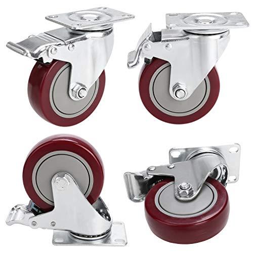 Homdox 4 PVC Heavy Duty Swivel Caster Wheels Lockable Ball Bearing 300lbs Each Set of 4-Red