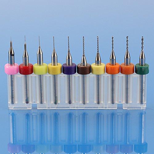 Xuchuan 10Pcs Mixed PCB Print Circuit Board Carbide Micro Drill Bits 01mm-10mm