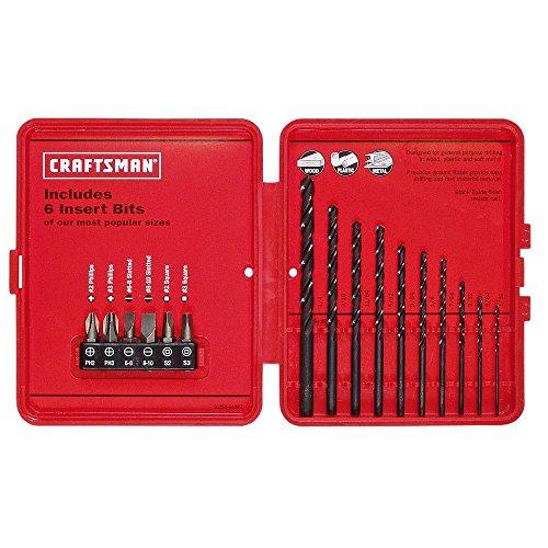 Craftsman 9-64087 Drill Bit Set with 6 Insert Bits 10 Piece