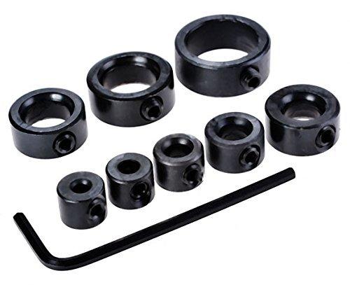 Generic Practical 8 PCS Drill Bit Depth Stop Collar Woodworking Drill Depth Stop Collar Sets Black