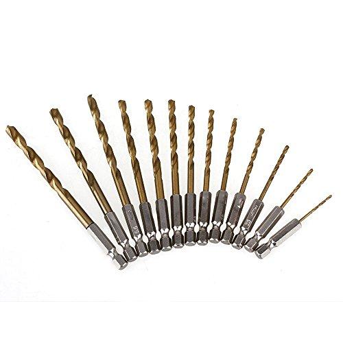 CNBTR HSS 4241 Titanium 14 Gold Cutting Drill Bit Coated Hex Shank Wood Drill Bit Set Pack of 13