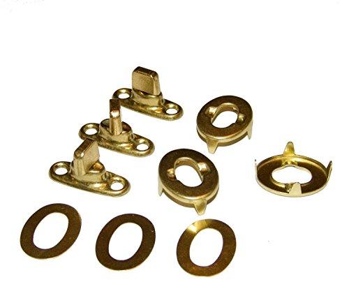 Common Sense Fastener Set Turn Button Gilt Brass Finish 3 Piece Set