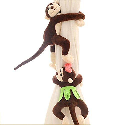 Dreaman 1Pair Monkey Window Curtain Tieback Buckle Clamp Hook Fastener Coffee