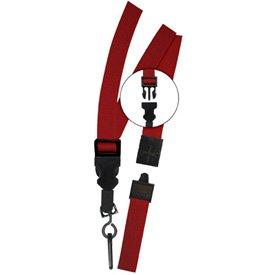 Nylon Weave Breakaway Lanyards Red with Plastic Swivel Hook Fastener