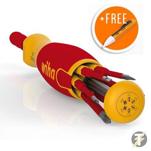 Wiha 38613 PLUS FREE Non-Contact 90 Volt To 1000 Volt VoltstickVolt Detector - 6 Piece Slim-Bit VDE LiftUp Magazine Bit HolderScrewdriver by Wiha