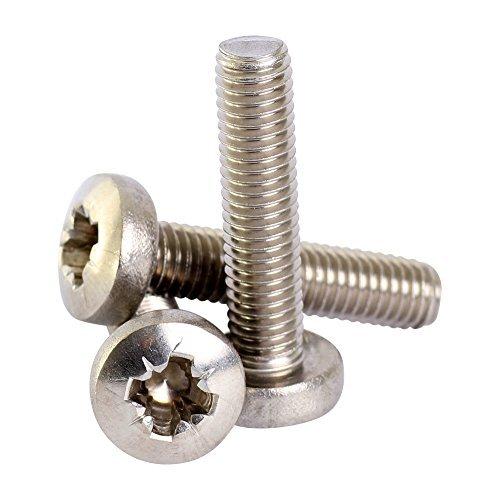 Bolt Base 16mm A2 Stainless Steel Pozi Pan Head Machine Screws Posi Pozidrive Screw DIN 7985 M16 x 12 - 100