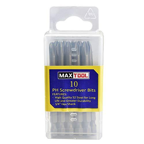 MaxTool 10PCs PH3x3 Identical Screwdriver Bit Set Phillips Head 3 3 OAL 14 Hex S2 Premium Alloy Tool Steel PH3x3P10-S2