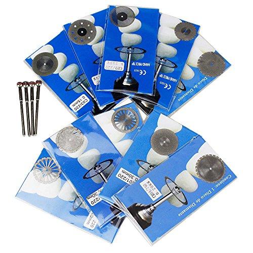 Airgoesin 10 Dental Diamond Polishing Wheel Saw Disc Cutter Rotary Tool Double Side  4 Mandrels Shanks