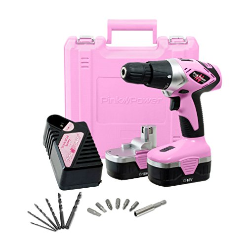 Pink Power Drill PP182 18V Cordless Electric Drill Driver Set for Women - Tool Case 18 Volt Drill Charger and 2 Batteries Certified Refurbished