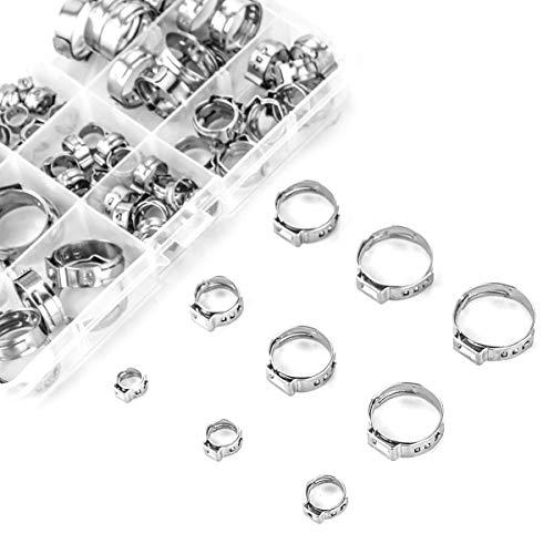 Stainless Steel Single Ear Hose Clamp 80Pcs 6-236Mm Crimp Hose Clamp Assortment Kit Ear Stepless Cinch Rings Crimp Pinch Fit