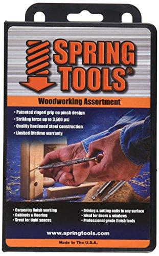 SpringTools WWA996 4 Piece Woodworking Set with Center Punch Nail Set Combo Nail Set Self Centering Brad Setter Self Centering Center Punch