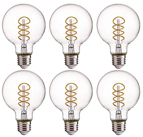 FLSNT LED Globe Flexible Spiral Filament Edison Light BulbsG25Dimmable45W40W Equivalent2700K Soft White300LME26 BaseCRI80Clear Glass6 Pack