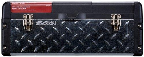 Stack-On DXG-26-1 26-Inch Professional SteelPlastic Tool Box Galvanized Steel Tread PlateBlack