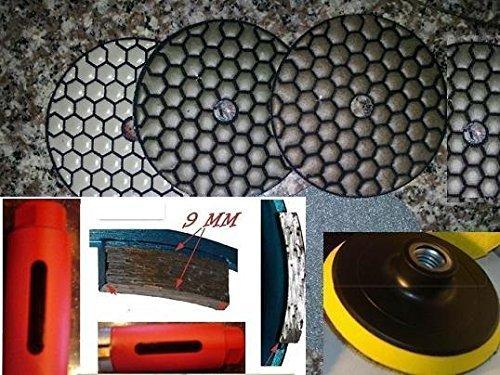 3 Inch 75mm SUPREME Turbo Segment Dry Diamond Core Drill Bit 4 4 Inch DRY Premium Polishing Pad 101 Pieces Granite Concrete Stone 58-11 Thread