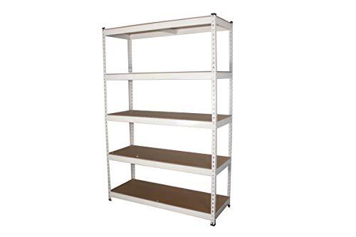 MonsterRax 18x48x72 Modular Garage Shelving - White Steel Storage Rack - 300 Pounds Per Shelf - 5-Tier ShelvesWork Bench 18x48x72