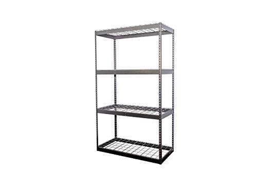 SafeRacks 2x4x7 Garage Shelving - Hammertone Bolted Shelving Rack 24 x 48 x 84 - 500 Pounds Per Shelf High Grade Steel