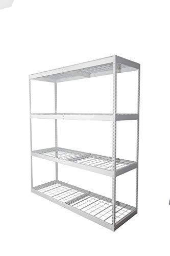 SafeRacks 2x6x7 Garage Shelving - White Bolted Shelving Rack 24 x 72 x 84 - 500 Pounds Per Shelf High Grade Steel