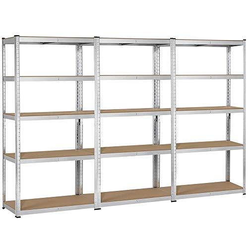 Topeakmart 5 Tier Storage Rack Heavy Duty Adjustable Garage Shelf Steel Shelving Units71in Height 3 Bay Garage Shelves