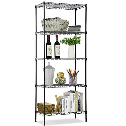 Wire Shelving Unit NSF 5-Tier Layer Shelf Utility Steel Commercial Grade Storage Shelves 24L x 14W x 60H Heavy Duty Metal Shelves Organizer Rack with Leveling Feet for Kitchen Office Garage Black