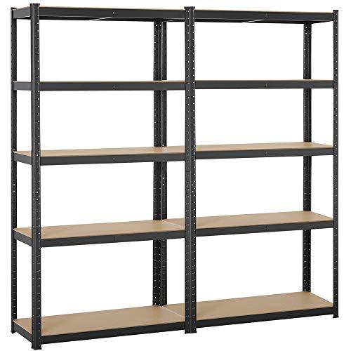 Yaheetech Black 5-Shelf Steel Shelving Unit Storage Rack Adjustable Garage Shelves Utility Rack Display for Home Office Garage 71in Height 2 Packs
