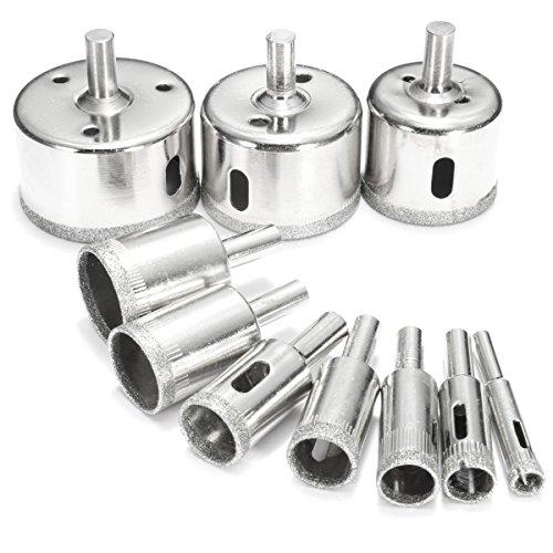 BABAN Diamond Drill Bit Set Hole Saw Kits Pack of 10 Sizes 8mm 10mm 14mm 16mm 18mm 22mm 26mm 38mm 45mm 50mm