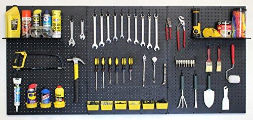 WallPeg Garage Tool Storage Kit ShelvesPart Bins and Locking Peg Hooks Black
