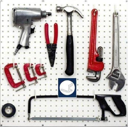 Wallpeg Peg Board Hook Kit Garage Tool Storage Pegboard 50 pieces L Hook Style 50 L-Bk