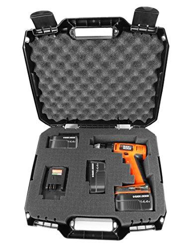 DRILL CASE - RUGGED Case fits BLACK DECKER Cordless Drills  Drivers  Batteries  Chargers and Bits - Fits LDX120 20-Volt  LD120VA  BDCD120VA  SS-12  BDCDMT120  BDCDD220C and more