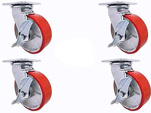 8 X 2 Swivel Caster Set - Heavy Duty Polyurethane Wheel on Steel Hub with Top Lock Brake - 1200lb ea 4 Tool Box Set