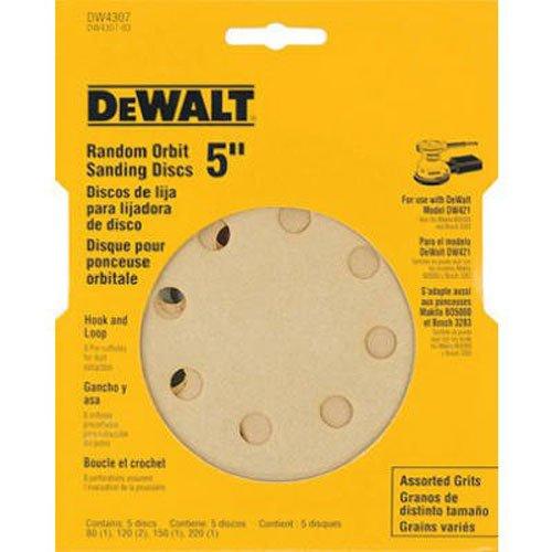 DEWALT DW4307 5-Inch 8 Hole Assortment Hook and Loop Random Orbit Sandpaper 5-Pack