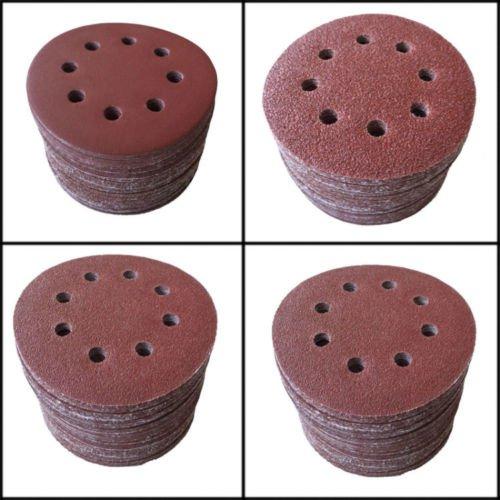 SHINA 50pcs 5125mm 8 Hole 60 Grit Mix Sanding Disc Random Orbit Sandpaper Velcro Sander