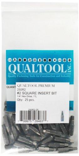 Qualtool Premium 250R2-25 Size 2 Square Insert Bit 25-Pack