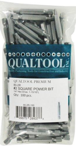 Qualtool Premium 80-2R-100 Size 2 Square Power Bit 100-Pack