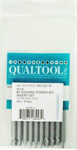 Qualtool Premium 86-2R-10 3 12-Inch Size 2 Square Power Bit 10-Pack