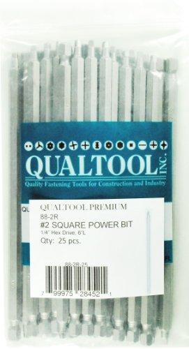 Qualtool Premium 88-2R-25 Size 2 Square Power Bit 25-Pack