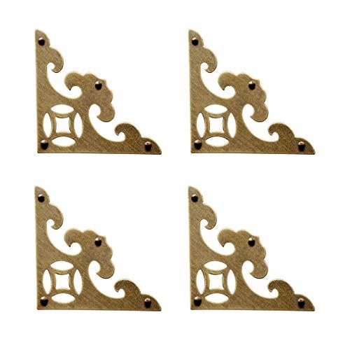 Tiazza 4Pcs Vintage Brass Antique Decorative Box Corner Protector Triangle with ScrewsWooden Jewelry Gift Box Cabinet Chest Accessories Guard Edge Cover Flat Corner BracesAntique Bronze