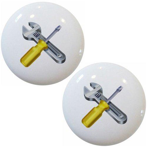 Set of 2 Screwdriver Wrench Ceramic Cabinet Drawer Knob