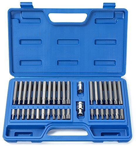 Neiko 10280B Combination Hex Torx and XZN Triple Square Driver Socket Bit Set  40-Piece Set