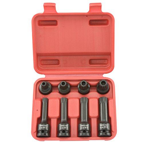 Neiko Pro 10283B 12-Inch Drive XZN Triple Square Spline Driver Impact Socket Set  8-Piece Set