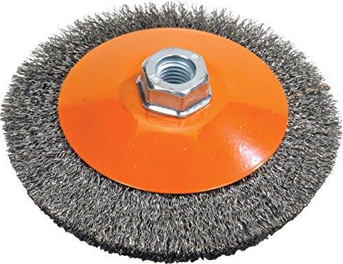 Walter Surface Technologies 13H554 Saucer-Cup Crimped Wire Brush Threaded Hole Carbon Steel 5 Diameter 0012 Wire Diameter 58-11 Arbor 10000 Maximum RPM Orange