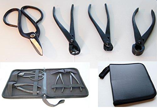 U-nitt 4-pc Bonsai Tool Set Carbon Steel with leather case