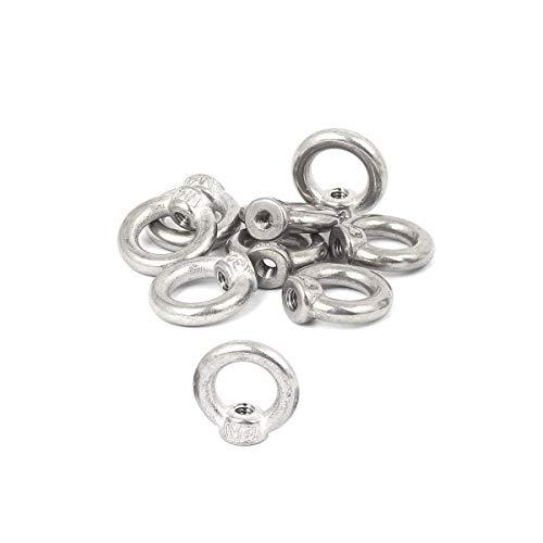 10 PCS 304 Stainless Steel M4 Thread Dia Ring Shape Eyed Bolt Lifting Eye Nut Fastener