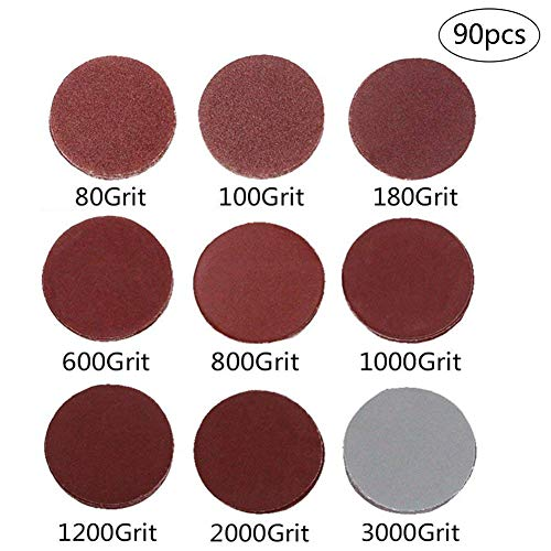 90-Pack 3 inch Sander Disc DeSS Aluminium Oxide Hook Loop Sanding Discs 10PCS Each of 80100 180600 8001000 12002000 3000 Grit