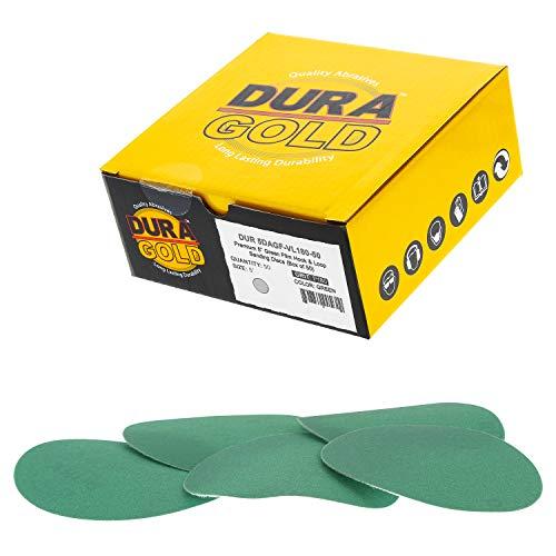 Dura-Gold - Premium Hook loop - 180 Grit 5 Green Film - Hook Loop Sanding Discs for DA Sanders - Box of 50 Sandpaper Finishing Discs for Automotive and Woodworking