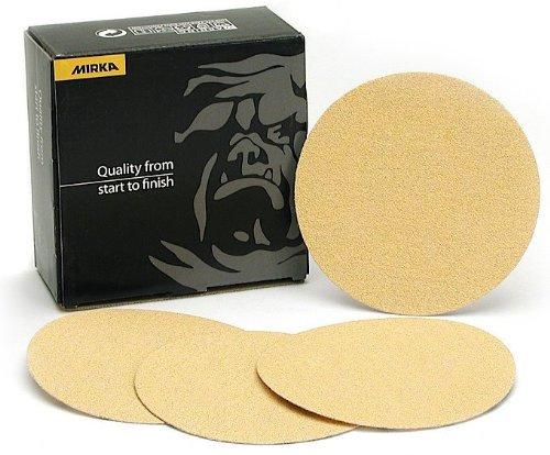 Mirka 23-332-080 5 Bulldog Gold No-Hole 80 Grit PSA Sanding Discs - 100 Discs per Box